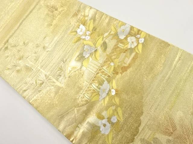 【IDnet】 本金屋敷に枝椿模様刺繍袋帯【リサイクル】【中古】【着】