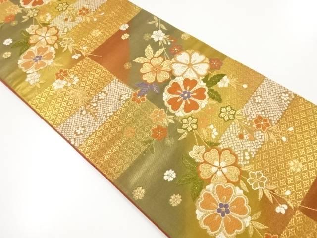 【IDnet】 金糸枝垂れ梅模様織り出し袋帯【リサイクル】【中古】【着】