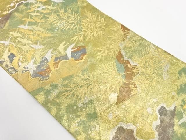 【IDnet】 群鶴に草花模様織出し袋帯【リサイクル】【中古】【着】