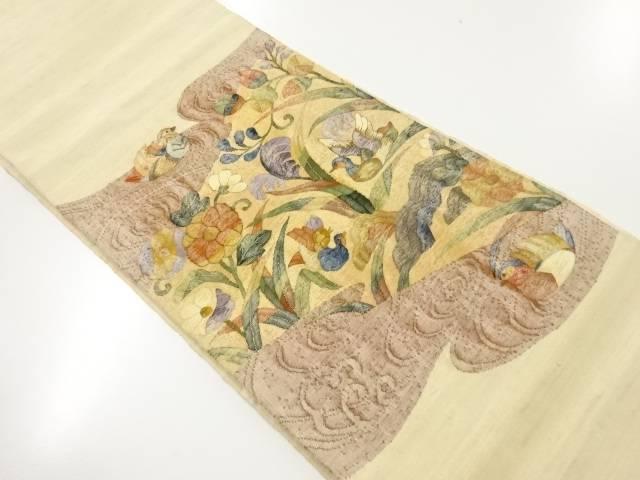 【IDnet】 明綴れ手織り紬鴛鴦に花模様織り出し袋帯【リサイクル】【中古】【着】