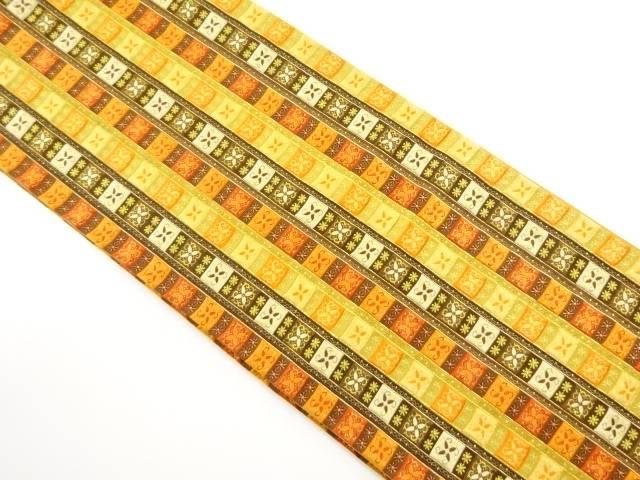 【IDnet】 金糸縞に花唐草模様織り出し全通袋帯【リサイクル】【中古】【着】