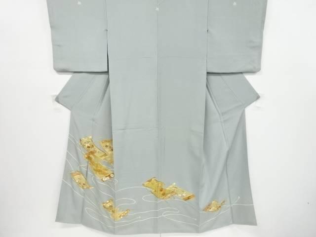 【IDnet】 箔置き巻物に草花模様刺繍三つ紋色留袖(比翼付き)【リサイクル】【中古】【着】