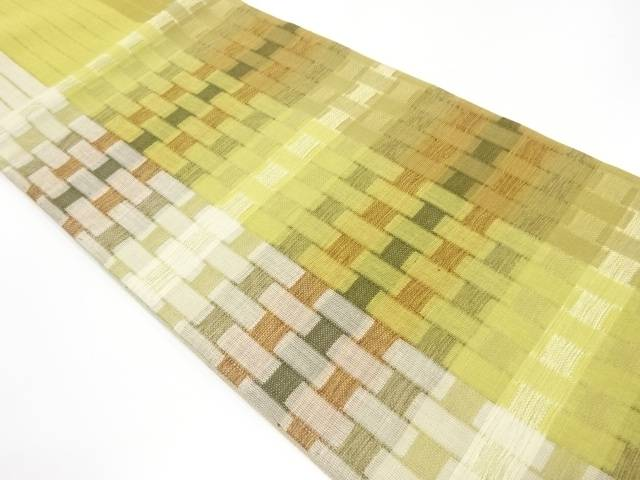 【IDnet】 未使用品 縞に市松模様織出し洒落袋帯【リサイクル】【着】
