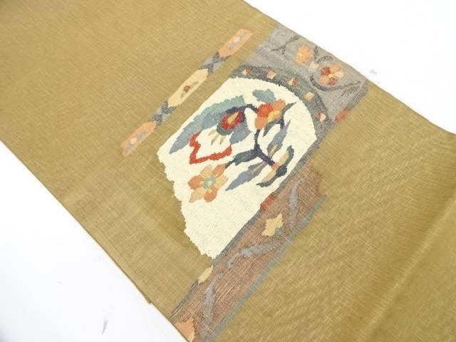 【IDnet】 すくい織抽象花模様織出し夏用袋帯【リサイクル】【中古】【着】