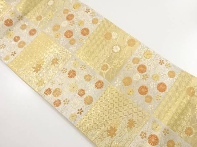 【IDnet】 本金市松に菊・梅唐草模様織り出し袋帯【リサイクル】【中古】【着】