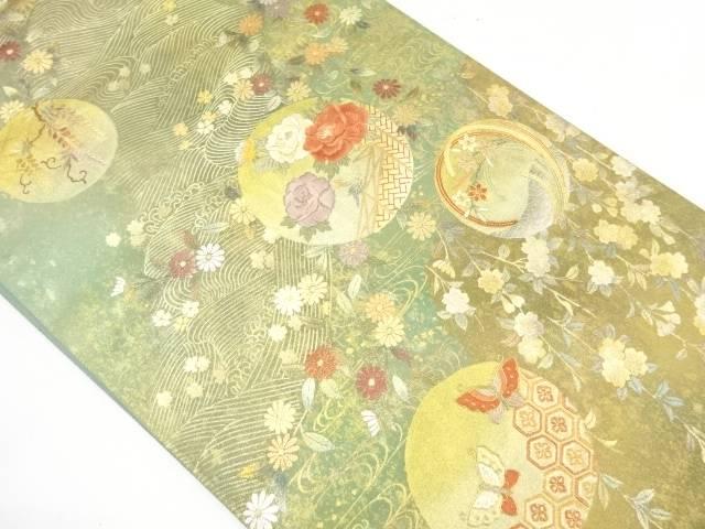 【IDnet】 引箔丸紋に草花・蝶模様刺繍袋帯【リサイクル】【中古】【着】