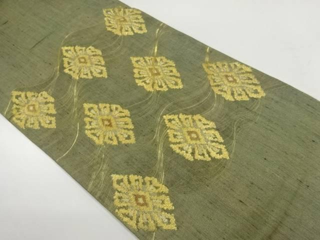 【IDnet】 未使用品 抽象花模様織出し紬袋帯【リサイクル】【着】