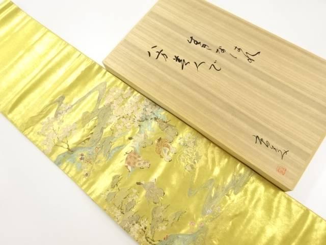 【IDnet】 橋本織物製 本金流水・桜に時代人物模様織り出し袋帯(市田ひろみ)【リサイクル】【中古】【着】