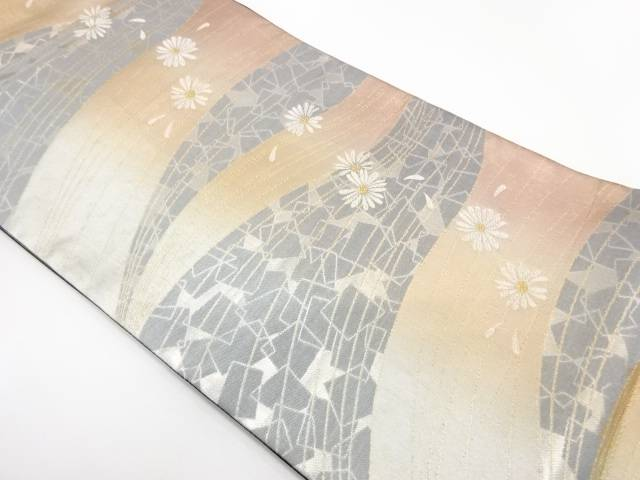 【IDnet】 色紙散らしに花模様織出し袋帯【リサイクル】【中古】【着】