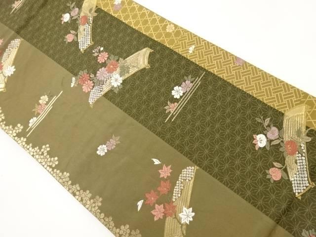 【IDnet】 金糸琴に花模様織り出し袋帯【リサイクル】【中古】【着】