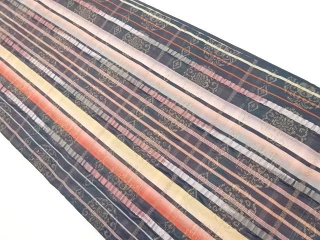【IDnet】 縞に華紋織り出し袋帯【リサイクル】【中古】【着】
