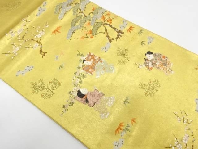 【IDnet】 童女に松竹梅模様織出し袋帯【リサイクル】【中古】【着】