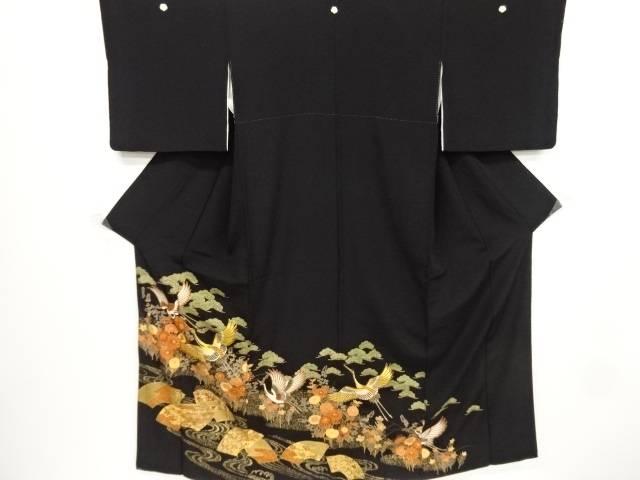 【IDnet】 金彩鶴に地紙草花模様刺繍留袖(比翼付き)【リサイクル】【中古】【着】