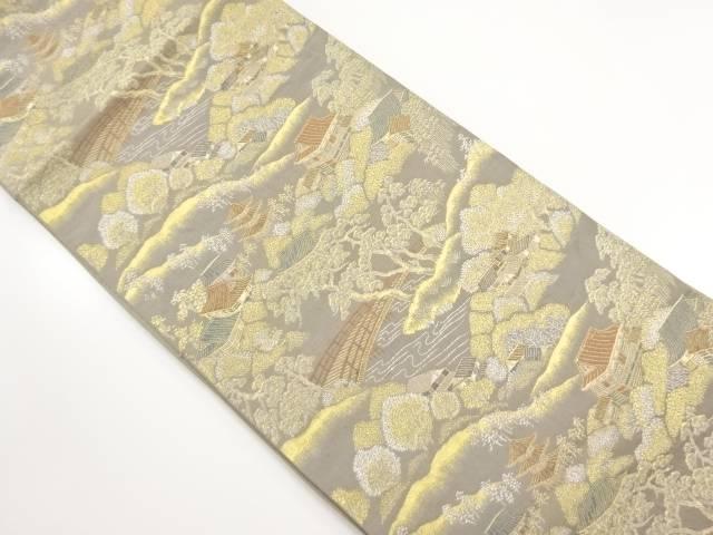 【IDnet】 金糸流水橋に屋敷風景模様織出し袋帯【リサイクル】【中古】【着】