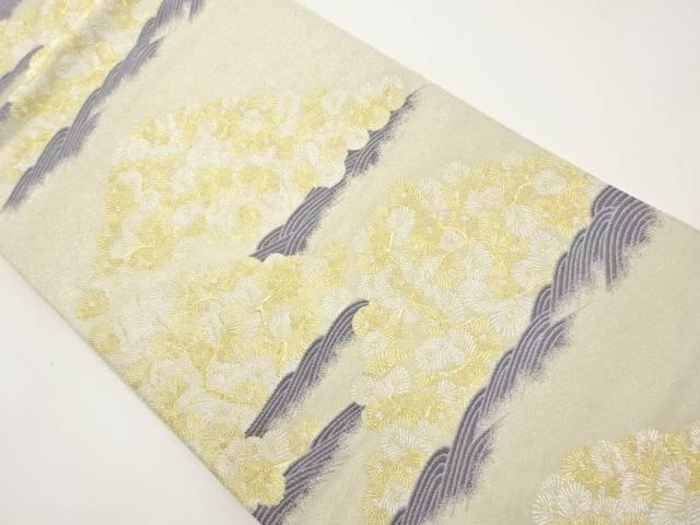 【IDnet】 金銀糸 波に松葉模様織り出し袋帯【リサイクル】【中古】【着】