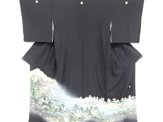 【IDnet】 岡村蒼風作 手描き友禅宮島風景模様留袖(比翼付き)【リサイクル】【中古】【着】