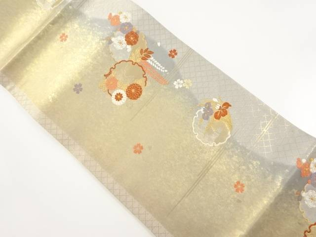 【IDnet】 本金 雪輪に八重桜・藤菊模様織り出し袋帯【リサイクル】【中古】【着】