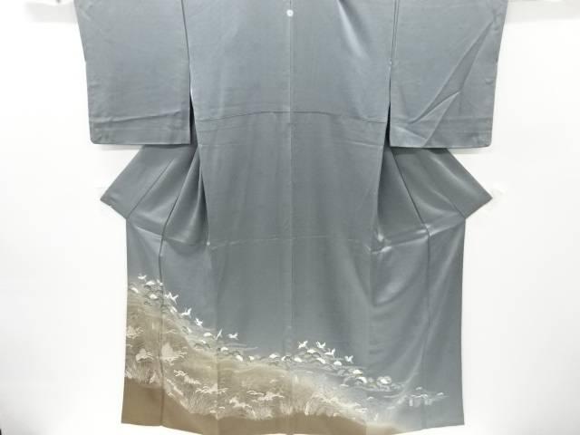 【IDnet】 手描き友禅波に松林・群鶴模様一つ紋色留袖【リサイクル】【中古】【着】