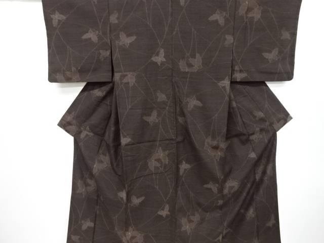 【IDnet】 蝶模様織出し手織り真綿紬着物【リサイクル】【中古】【着】