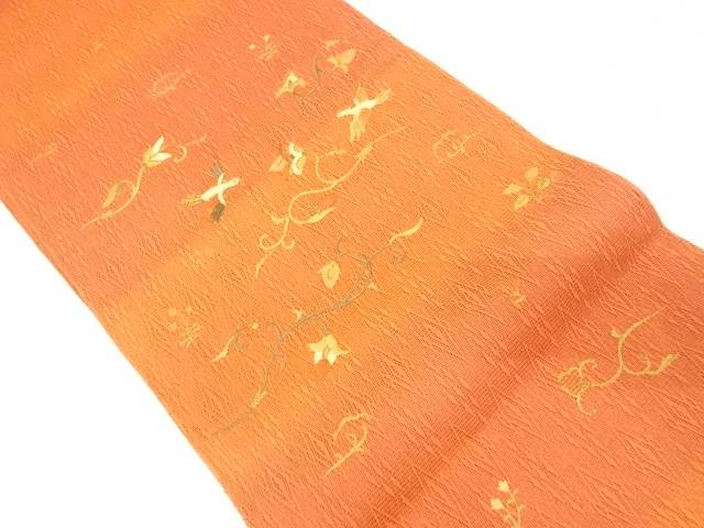 【IDnet】 鳥に花唐草模様刺繍暈し袋帯【リサイクル】【中古】【着】