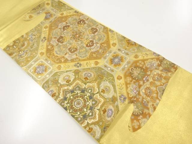 【IDnet】 汕頭蘇州刺繍螺鈿 華紋更紗模様袋帯【リサイクル】【中古】【着】