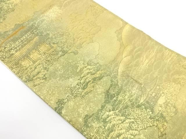 【IDnet】 寺院に松風景模様織出し袋帯【リサイクル】【中古】【着】