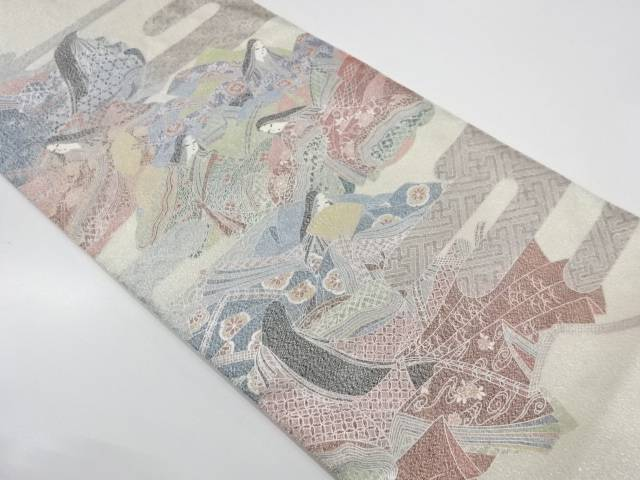 【IDnet】 綴れ銀彩十二単模様織出し袋帯【リサイクル】【中古】【着】