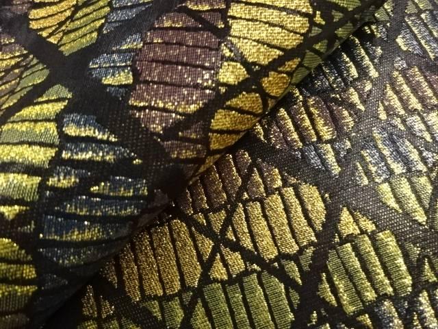 IDnet未使用品 金糸 斜め格子に石畳模様織り出し袋帯 リサイクル着F1cTJK3l