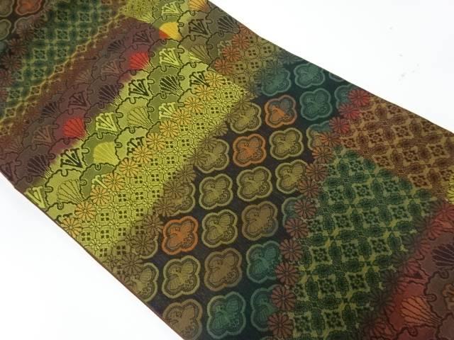 【IDnet】 横段に抽象花鳥模様織出し全通洒落袋帯【リサイクル】【中古】【着】