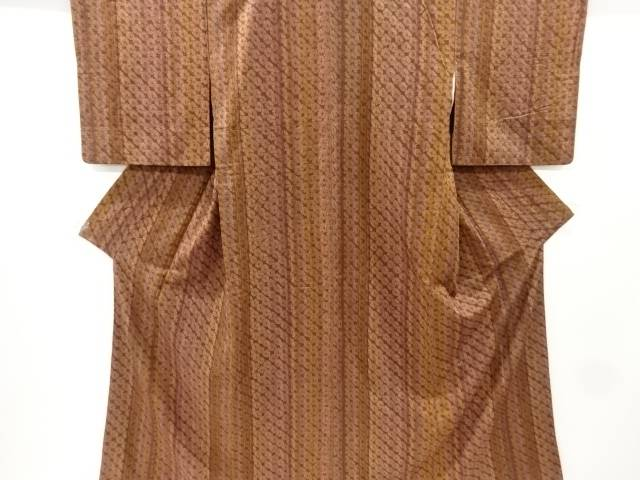 【IDnet】 本絞り縞織出手織り節紬着物【リサイクル】【中古】【着】
