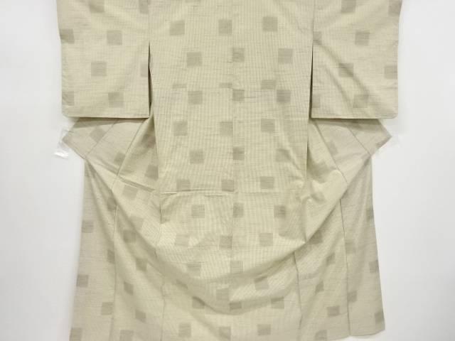 【IDnet】 枡模様織り出し手織り真綿紬着物【リサイクル】【中古】【着】