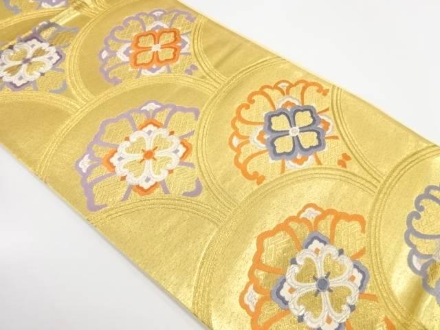 【IDnet】 北斗織物製 花青海波模様織出し袋帯【リサイクル】【中古】【着】