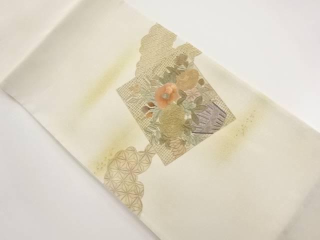 【IDnet】 未使用品 汕頭蘇州刺繍 色紙に菊・椿模様袋帯【リサイクル】【着】