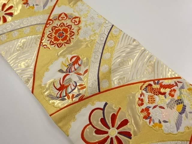 【IDnet】 本金雪輪に華紋・鴛鴦模様織り出し袋帯【リサイクル】【中古】【着】