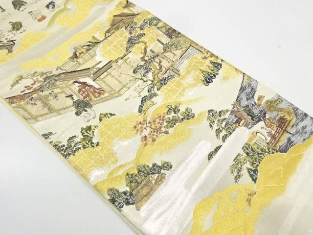 【IDnet】 時代人物に風景模様織出し袋帯【リサイクル】【中古】【着】