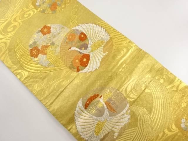 【IDnet】 本金箔丸紋に菊・鶴模様織り出し袋帯【リサイクル】【中古】【着】