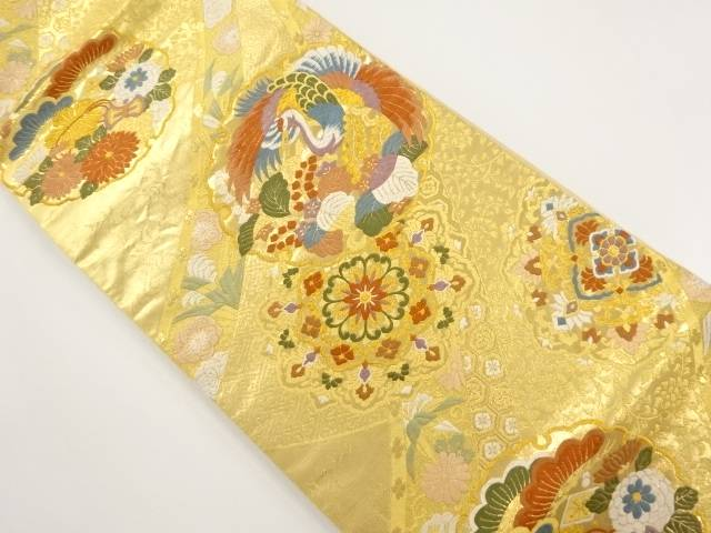 【IDnet】 本金箔 雪輪に花鳥模様織り出し袋帯【リサイクル】【中古】【着】