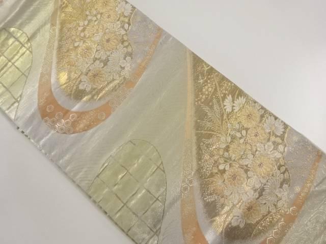 【IDnet】 引箔 霞取りに秋草模様織り出し袋帯【リサイクル】【中古】【着】
