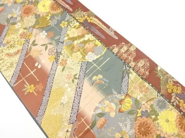 【IDnet】 枝垂れ桜に花丸紋・蝶模様織出し袋帯【リサイクル】【中古】【着】