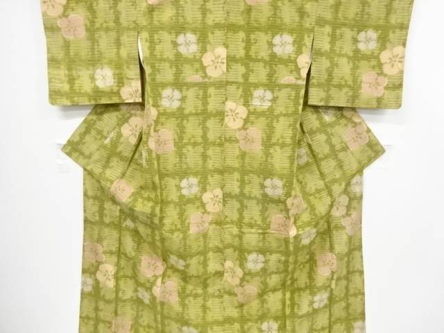 【IDnet】 花模様織り出し手織り節紬着物【リサイクル】【中古】【着】