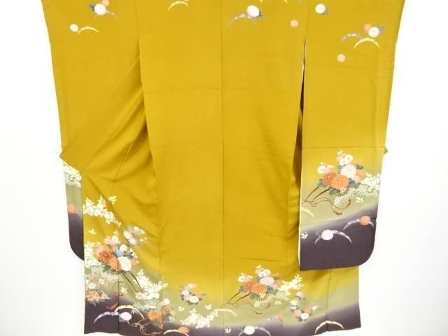 【IDnet】 金彩友禅花車模様刺繍振袖(重ね衿付き) 長襦袢・袋帯セット【リサイクル】【中古】【着】