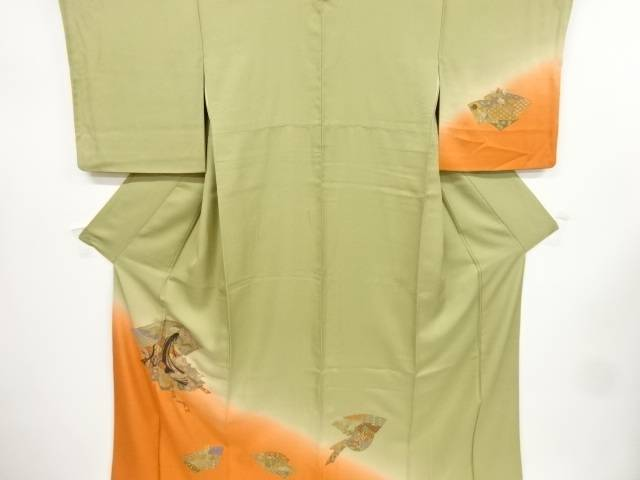 【IDnet】 汕頭蘇州刺繍十二単に地紙花古典柄一つ紋訪問着【リサイクル】【中古】【着】