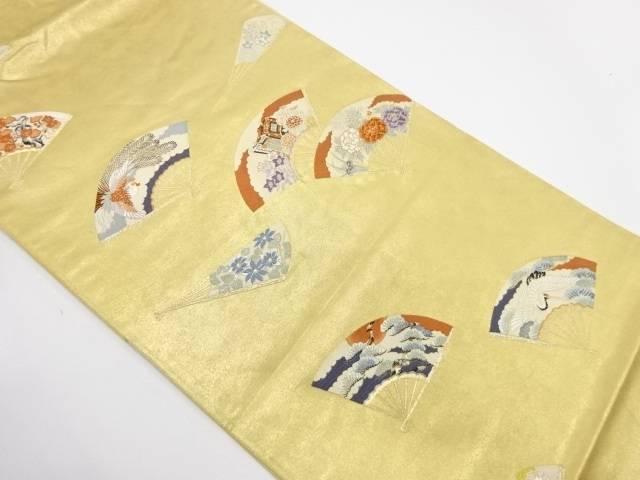 【IDnet】 本漆金箔扇に花鳥模様織出し袋帯【リサイクル】【中古】【着】