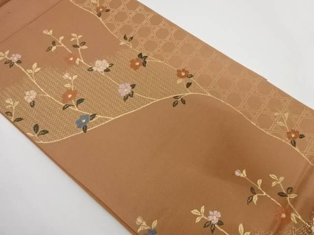 【IDnet】 匠栄織物製 籠目に椿模様織出し袋帯【リサイクル】【中古】【着】