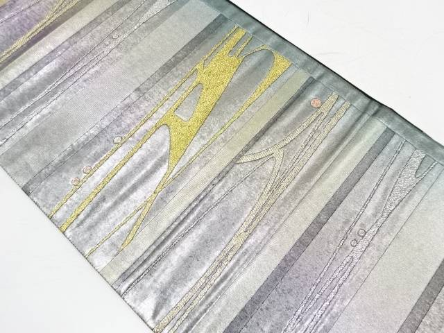 【IDnet】 引箔横段に抽象模様織出し袋帯【リサイクル】【中古】【着】