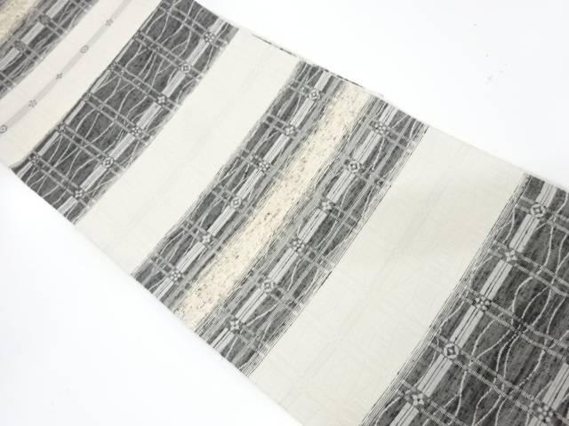 【IDnet】 ぜんまい紬横段に格子模様織出し袋帯【リサイクル】【中古】【着】