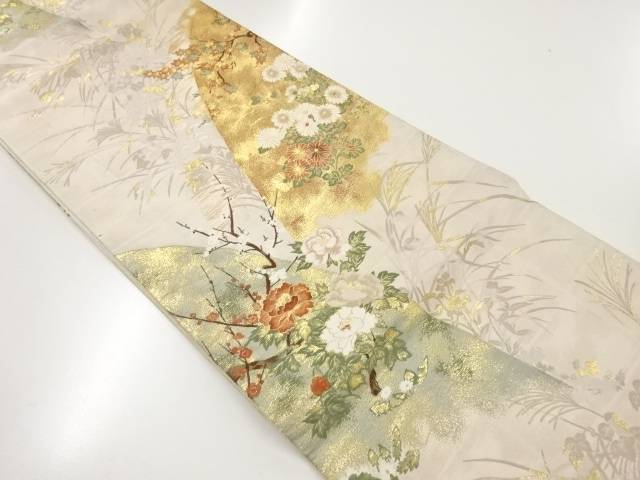 【IDnet】 本金牡丹に菊模様織出し袋帯【リサイクル】【中古】【着】