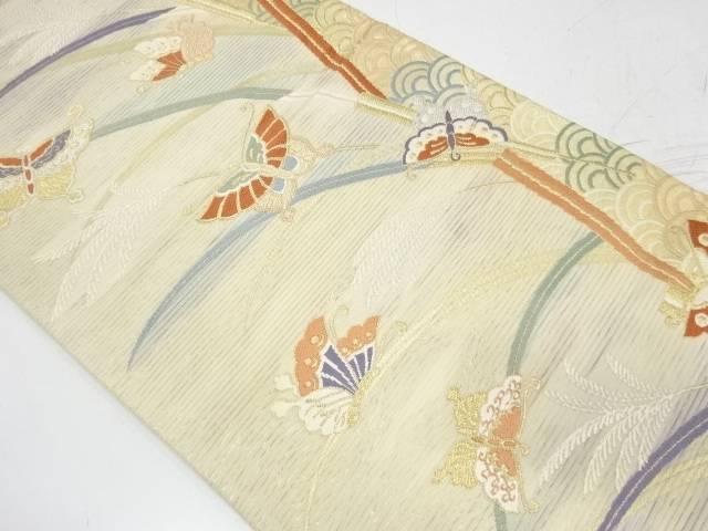 【IDnet】 絽紗芝草に蝶模様織出し袋帯【リサイクル】【中古】【着】