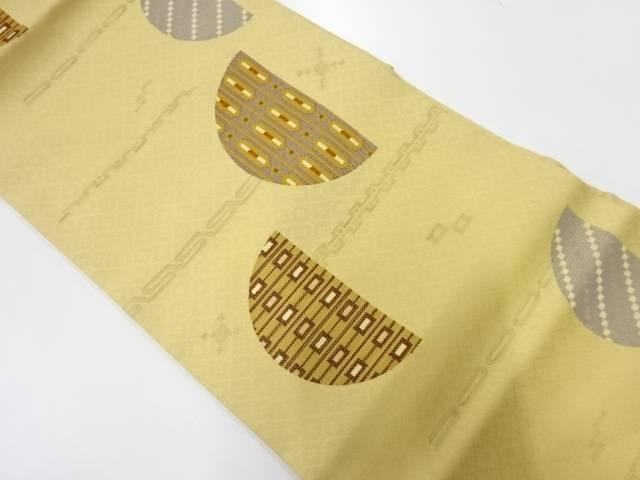 【IDnet】 半月に抽象模様織出し名古屋帯【リサイクル】【中古】【着】