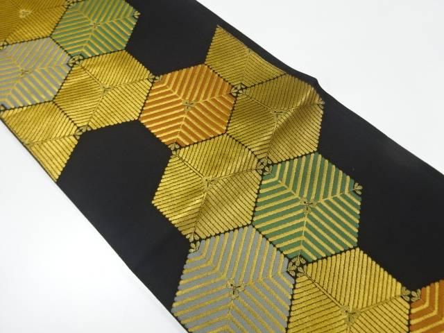 【IDnet】 亀甲繋ぎに若松模様織出し本袋帯【リサイクル】【中古】【着】